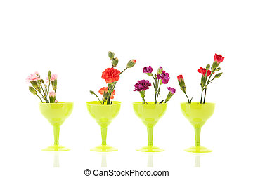 colorful Dianthus in little green glasses