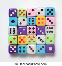 Colorful dice on white background