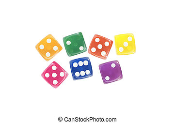 Colorful dices isolated on white background