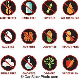 Colorful diet and warning label icons, food intolerance such...