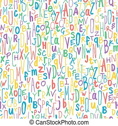 Colorful Different Letters. Alphabet Seamless Pattern. Hand-drawn vector illustration