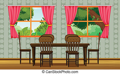Colorful dining room - Illustration of a colorful dining ...
