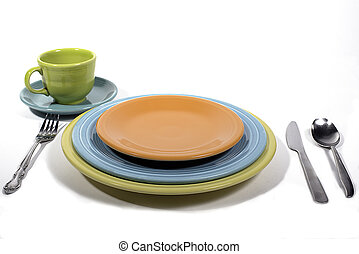 Colorful dinner setting - Fiesta colored dinnerware place...