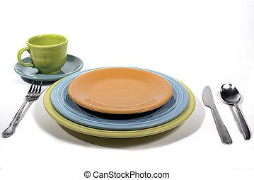 Fiesta colored dinnerware place setting