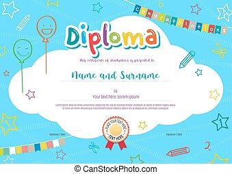Colorful diploma certificate for kids on bright blue background with kids elements