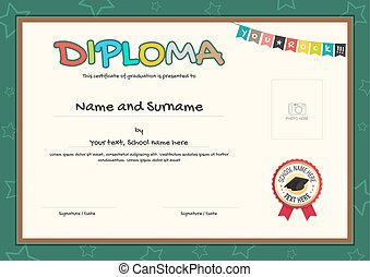 Diploma template for kids diploma template for kids vectors colorful diploma certificate template for kids in vector yelopaper Images