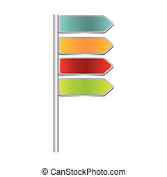 colorful directional metallic plaque road sign