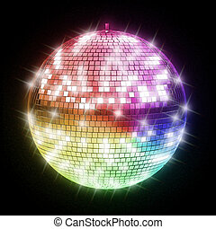 colorful disco ball 3d illustration