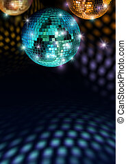 Colorful disco feeling - Colorful mirror balls reflect light...