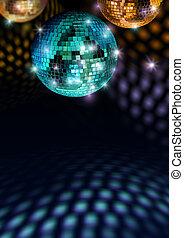 Colorful disco feeling - Colorful mirror balls reflect light...