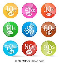 Colorful Discount Circles Set Labels Isolated on White