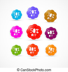 Colorful Discount Labels Set