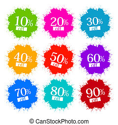 Colorful Discount Labels, Stains, Splashes