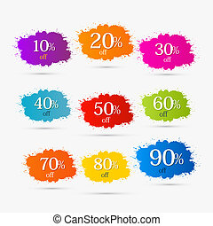 Colorful Discount Labels, Stains, Splashes....