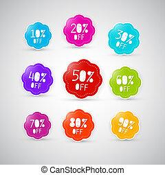 Colorful Discount Labels, Tags Set