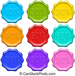 Discount Percentage Seals - Colorful Discount Percentage...