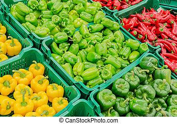 Capsicum - Colorful Display Of Capsicum In A Market