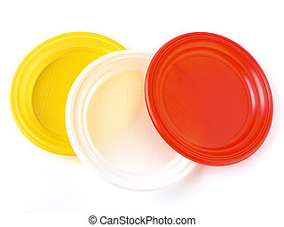 disposable plates - colorful disposable plates on white...