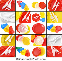 disposable tableware collage - colorful disposable tableware...