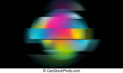 Colorful distorted circle abstract geometric background. Liquid holographic gradient glitch sphere motion design. Video animation Ultra HD 4K 3840x2160