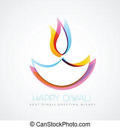 colorful diwali diya - stylish colorful diwali diya isolated...