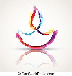 colorful diwali diya - vector creative happy diwali diya in...