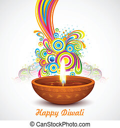 illustration of colorful swirls coming out of Diwali diya