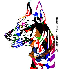 Colorful dog - colorful dog,line art ready for your design...