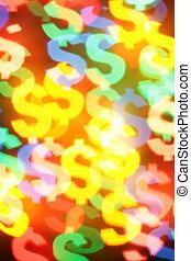 Colorful dollar symbols