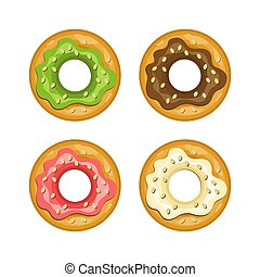 Colorful donut vector colored icon set