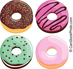 Colorful donuts. Vector illustration collection