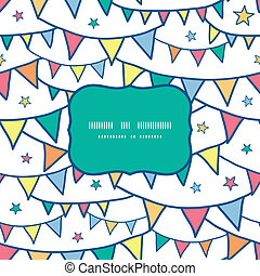 Colorful doodle bunting flags frame seamless pattern background