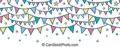 Colorful doodle bunting flags horizontal seamless pattern...