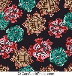 colorful doodle flowers seamless pattern