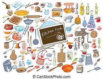 Colorful Doodle Kitchen Elements Set