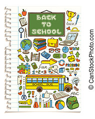 Colorful doodle school icons set.