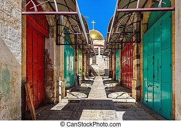 Colorful doors at bazaar in Old City of Jerusalem, Israel.