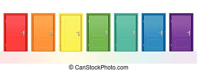 Seven colorful doors. Isolated vector illustration on white background.