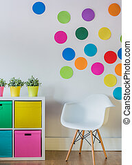 Colorful dots on the wall of child's room