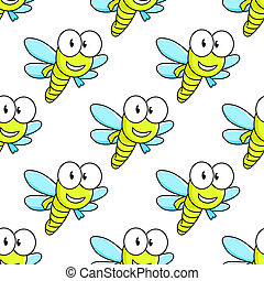Colorful dragon fly seamless pattern