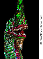 Colorful dragon statue isolated