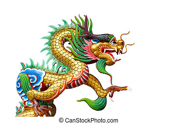 Colorful dragon statue on white in Chinese Shrine.
