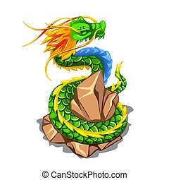 Colorful dragon wrapped around a pile of stones isolated on white background. Vector cartoon close-up illustration.