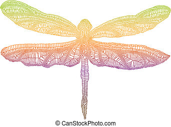 colorful dragonfly - dragonfly wing with delicate texture,...