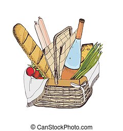 Colorful drawing of traditional wicker picnic basket for outdoor dining full of food isolated on white background - baguette, cheese, sausages, tomatoes, wine. Hand drawn vector illustration.