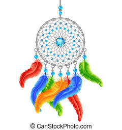 Colorful dream catcher isolated on white. Vector illustration