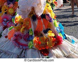 Colorful dress of a samba dancer