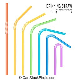 Colorful Drinking Straws Vector. Different Types. Plastic Straight And Curved. For Celebration Background Design, Cocktail Party Menu.