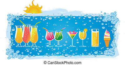 colorful drinks with ice background.