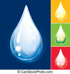 Colorful Drop Set, Water And Oil, editable vector...